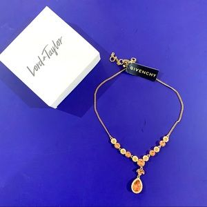Givenchy gold and colored crystal necklace NWT
